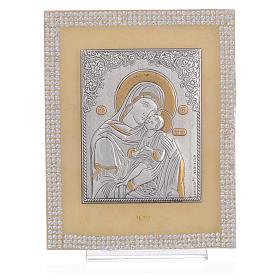 Quadro Maternità ortodosso Swarovski Bianchi 14x11 cm s1