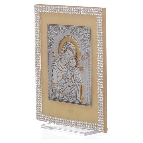 Quadro Maternità ortodosso Swarovski Bianchi 14x11 cm 2