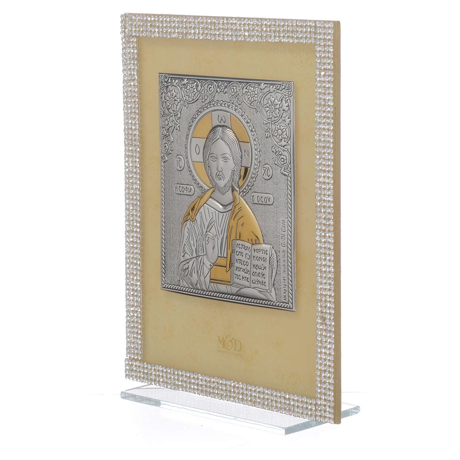 Quadro Cristo ortodosso Swarovski Bianchi 19x14 cm 3