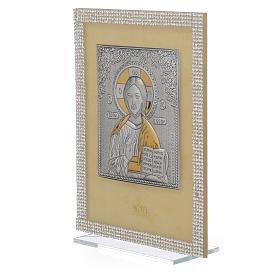 Quadro Cristo ortodosso Swarovski Bianchi 19x14 cm s2
