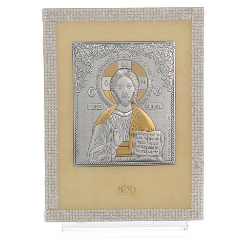 Quadro Cristo ortodosso Swarovski Bianchi 19x14 cm 1