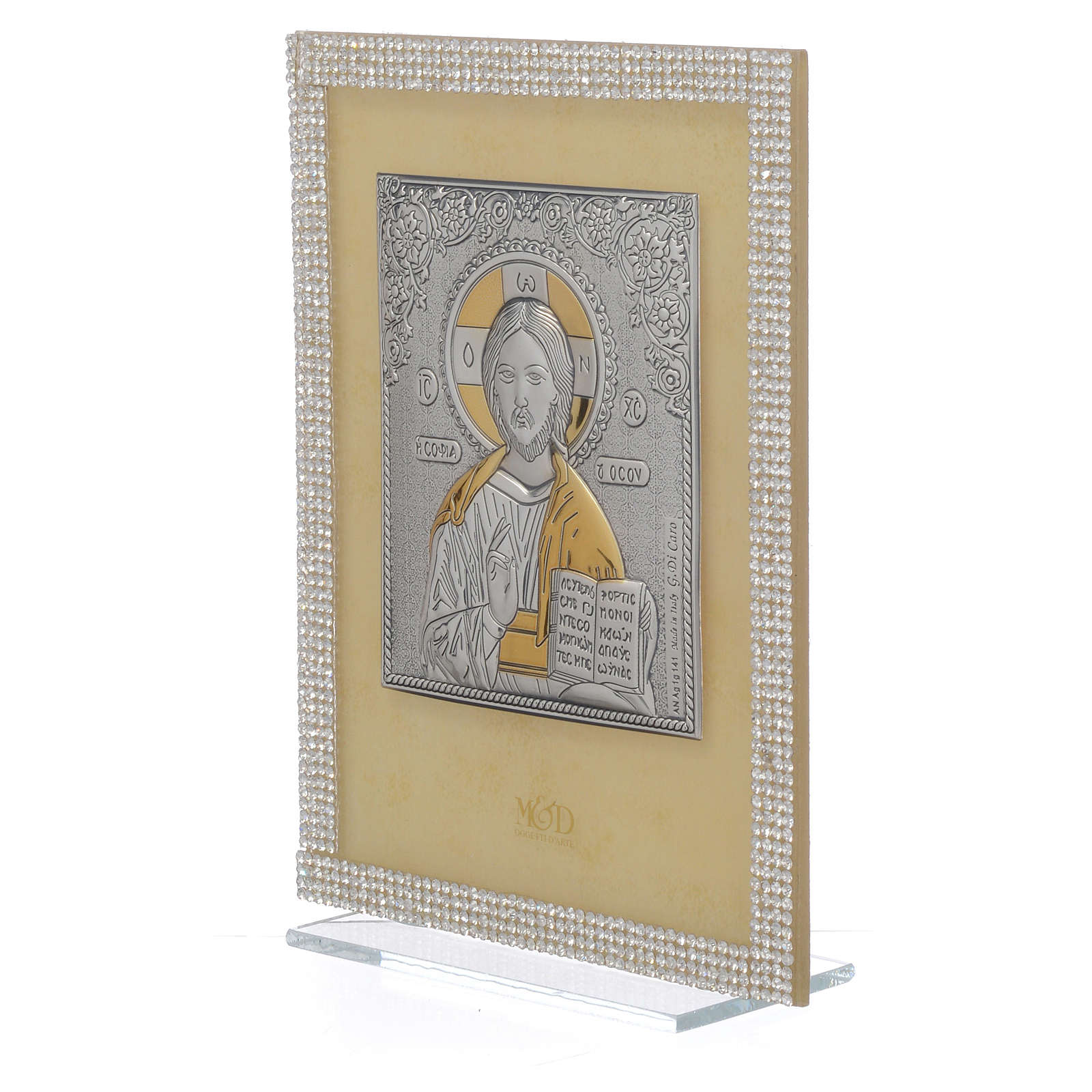 Orthodox Christ image favour with white Swarovski and silver 19x14cm 3