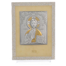 Orthodox Christ image favour with white Swarovski and silver 19x14cm s1