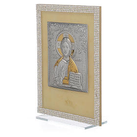 Orthodox Christ image favour with white Swarovski and silver 19x14cm s2