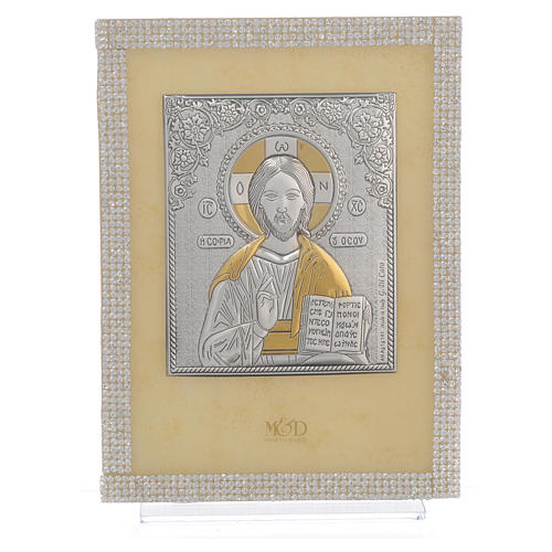 Orthodox Christ image favour with white Swarovski and silver 19x14cm 1