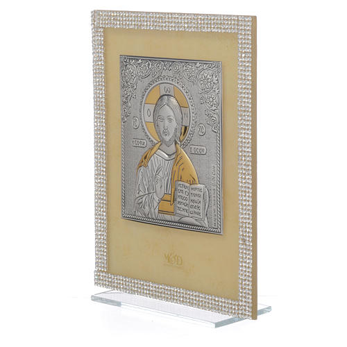 Orthodox Christ image favour with white Swarovski and silver 19x14cm 2
