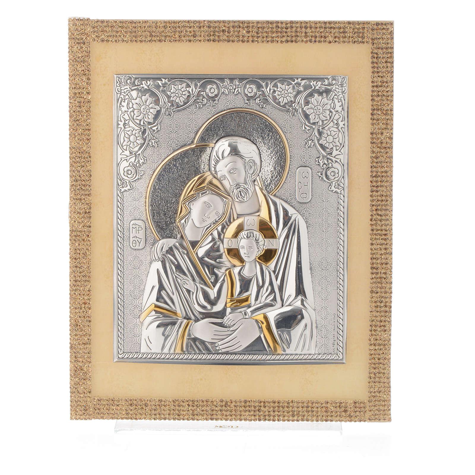 Quadro S. Famiglia ortodosso Swarovski Oro e Arg. 25x20 cm 3