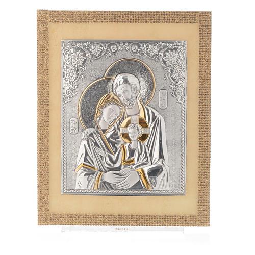 Quadro S. Famiglia ortodosso Swarovski Oro e Arg. 25x20 cm 4