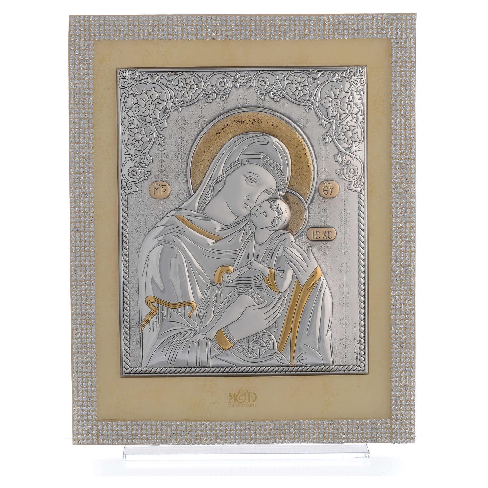 Quadro Maternità ortodosso Swarovski Bianchi e Arg. 25x20 cm 3