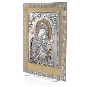 Quadro Maternità ortodosso Swarovski Bianchi e Arg. 25x20 cm s2
