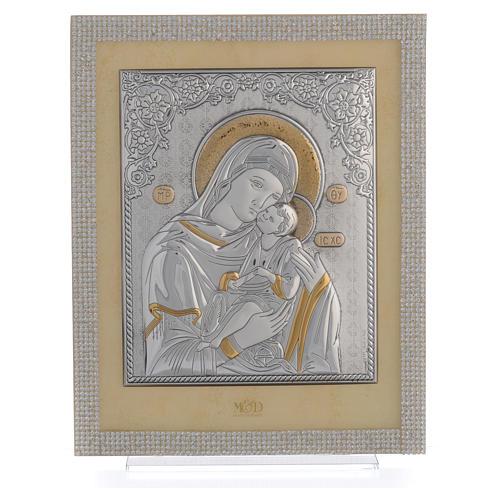 Quadro Maternità ortodosso Swarovski Bianchi e Arg. 25x20 cm 1