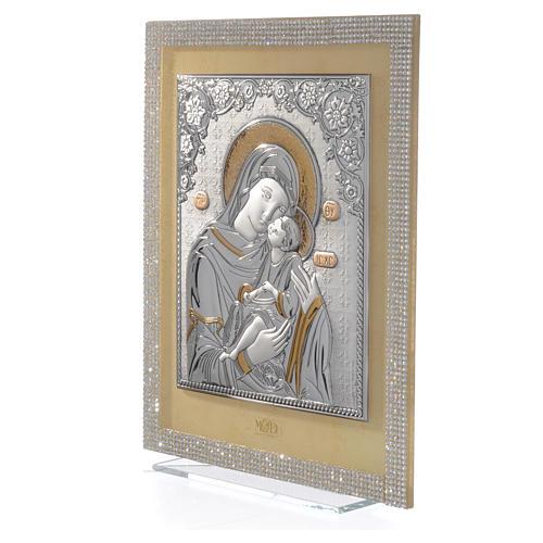 Quadro Maternità ortodosso Swarovski Bianchi e Arg. 25x20 cm 2