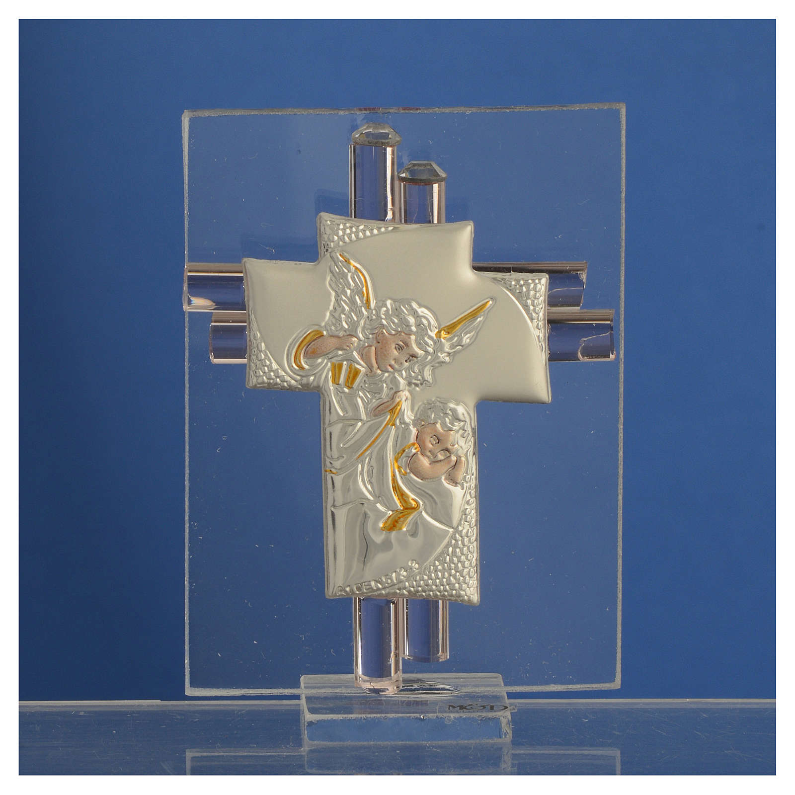 Favour with cross and Angels in silver and pink glass 8cm 3
