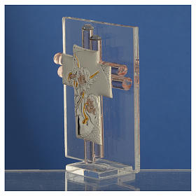 Favour with cross and Angels in silver and pink glass 8cm s3