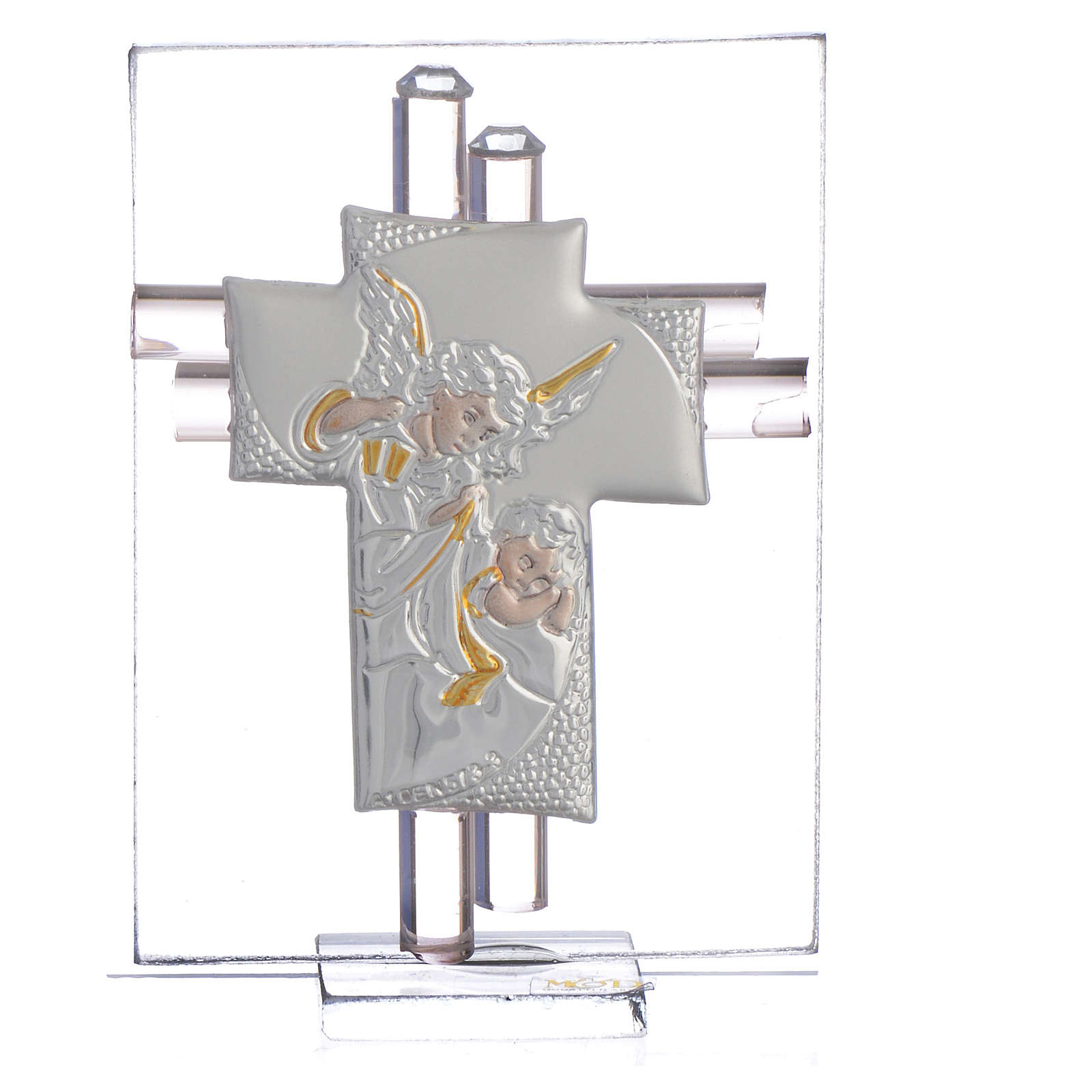 Bomboniera Croce Angeli vetro Murano rosa e Arg. h. 8 cm 3