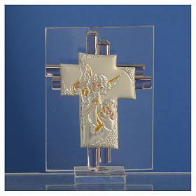 Bomboniera Croce Angeli vetro Murano rosa e Arg. h. 8 cm s2