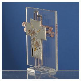 Bomboniera Croce Angeli vetro Murano rosa e Arg. h. 8 cm s3