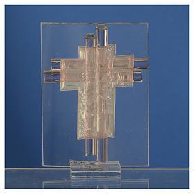 Bomboniera Croce Angeli vetro Murano rosa e Arg. h. 8 cm s4