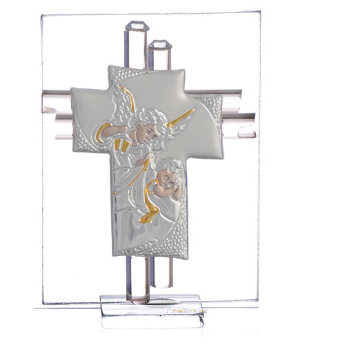Bomboniera Croce Angeli vetro Murano rosa e Arg. h. 8 cm 1