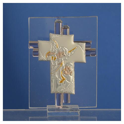 Bomboniera Croce Angeli vetro Murano rosa e Arg. h. 8 cm 2