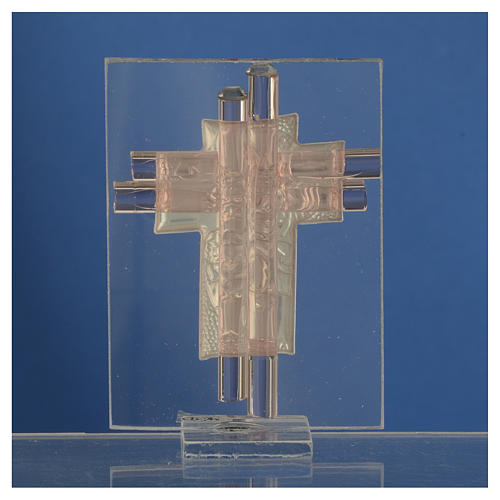 Pamiątka Krzyż Anioły szkło Murano różowe i srebrne 8cm 4