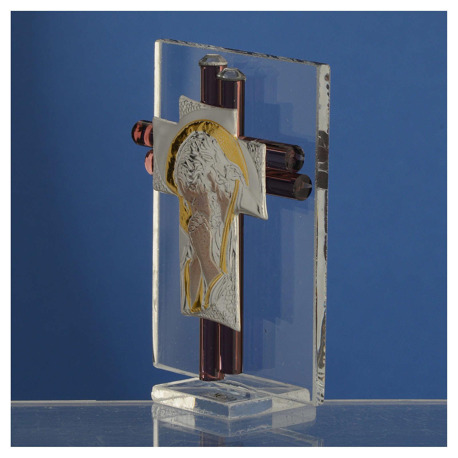 Croix Christ verre Murano lilas et argent h 8 cm 3