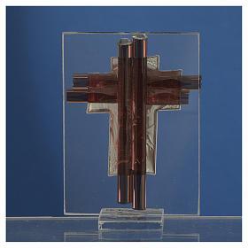 Croix Christ verre Murano lilas et argent h 8 cm s4