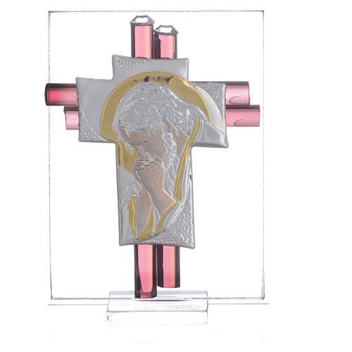 Croix Christ verre Murano lilas et argent h 8 cm 1
