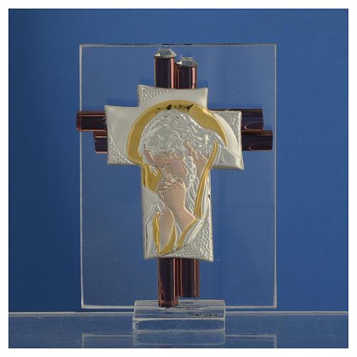 Croix Christ verre Murano lilas et argent h 8 cm 2