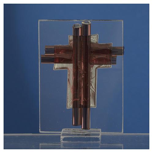 Croix Christ verre Murano lilas et argent h 8 cm 4