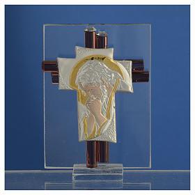 Croce Cristo vetro Murano lilla e Argento h. 8 cm s2