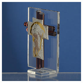 Croce Cristo vetro Murano lilla e Argento h. 8 cm s3