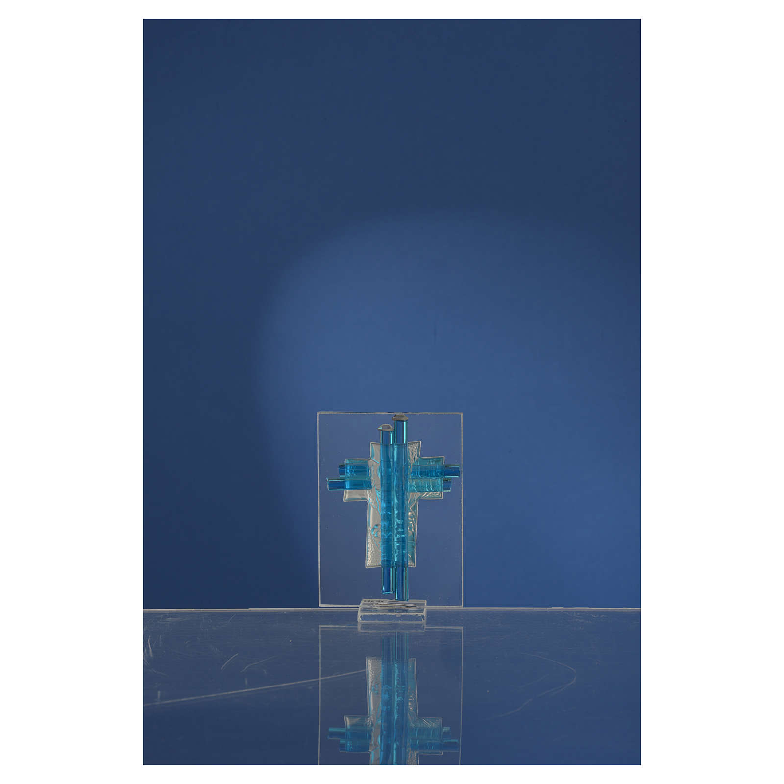 Bonbonnière Communion croix verre Murano aigue-marine arg h 8 cm 3