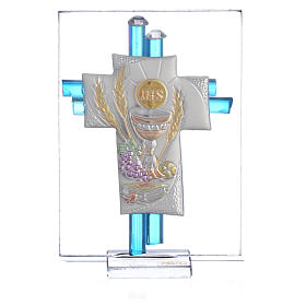 Bonbonnière Communion croix verre Murano aigue-marine arg h 8 cm s1