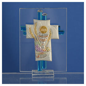 Bonbonnière Communion croix verre Murano aigue-marine arg h 8 cm s2