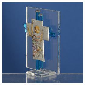 Bonbonnière Communion croix verre Murano aigue-marine arg h 8 cm s3