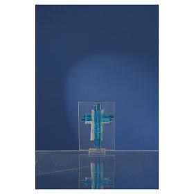 Bonbonnière Communion croix verre Murano aigue-marine arg h 8 cm s4