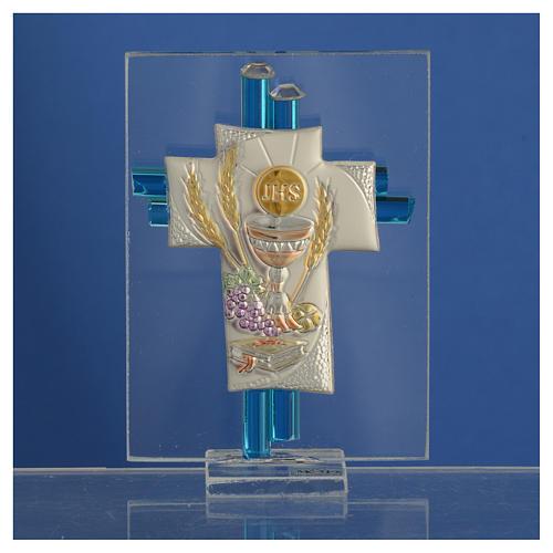 Bonbonnière Communion croix verre Murano aigue-marine arg h 8 cm 2
