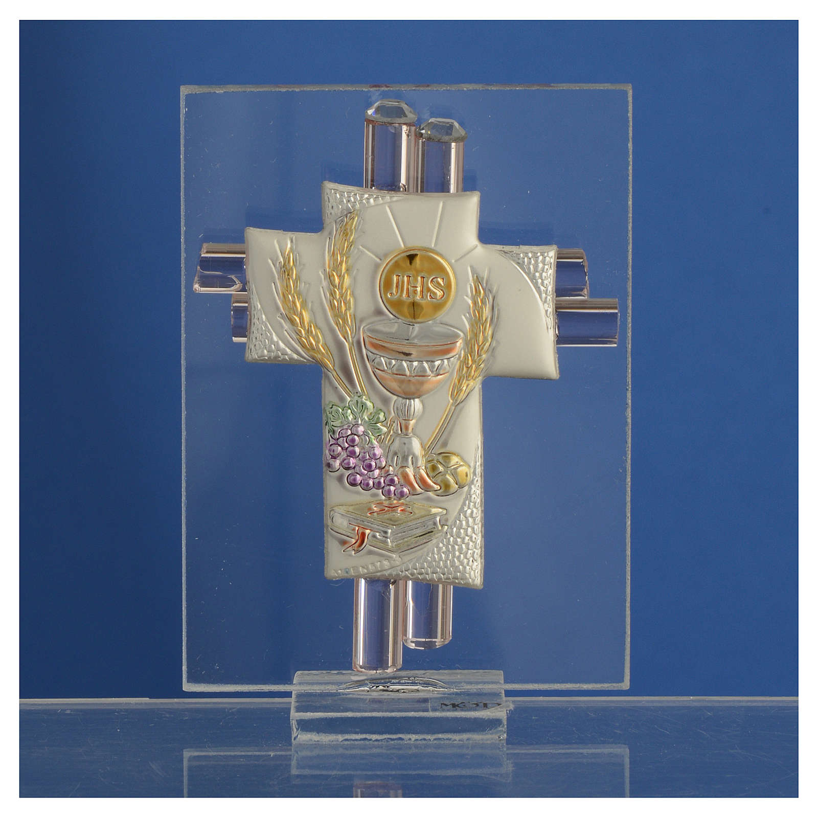 First Communion favour, Christ image in silver and pink glass 8cm 3