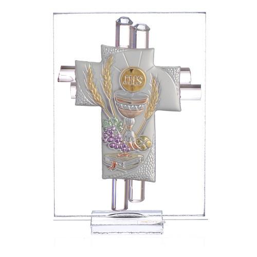 Bonbonnière Communion croix verre Murano rose arg h 8 cm 1