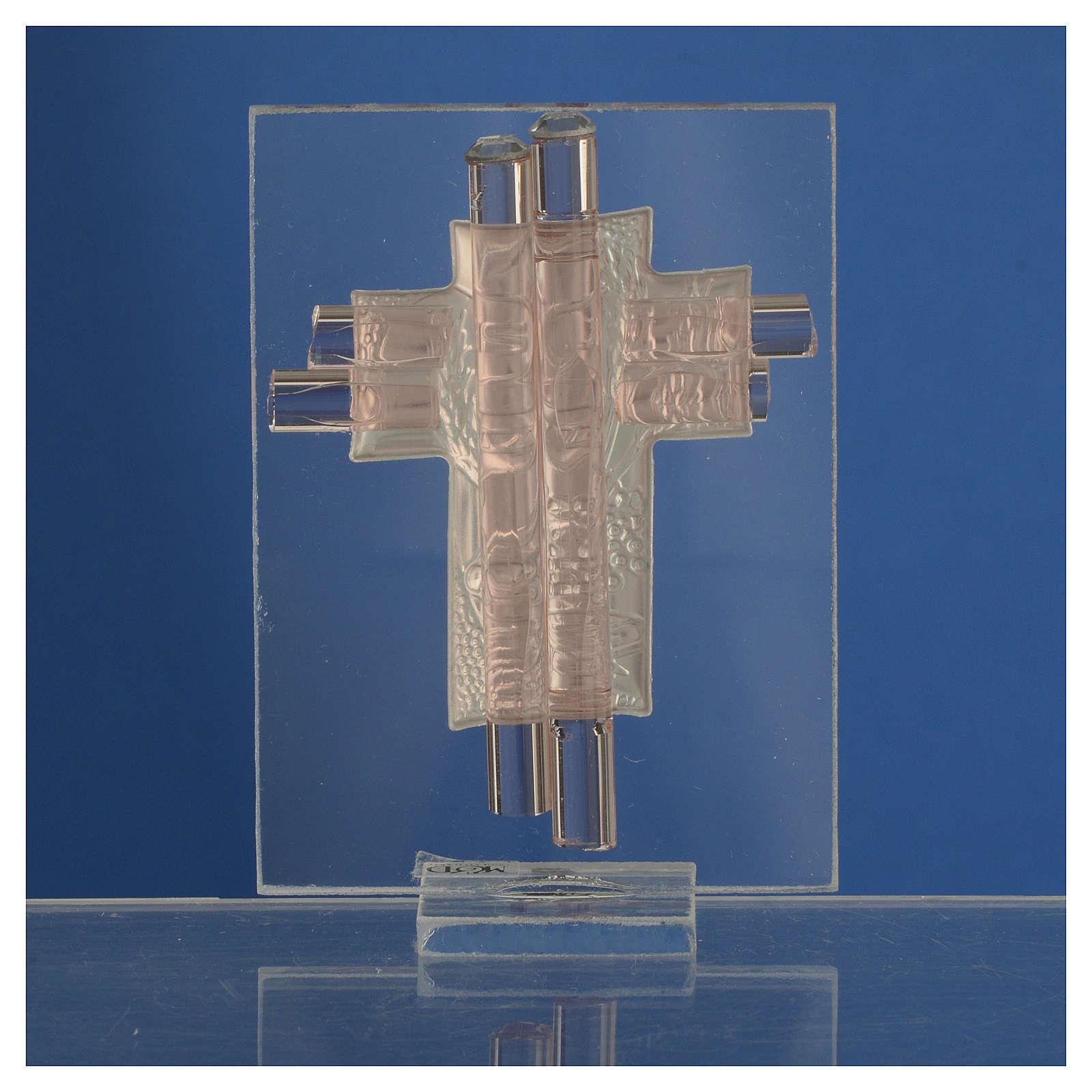 Bomboniera Comunione Croce vetro Murano rosa e Argento h. 8 cm 3