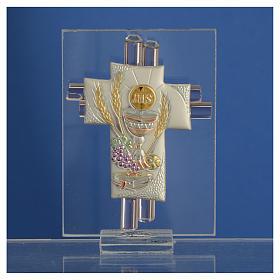 Pamiątka Krzyż Pierwsza Komunia szkło Murano różowe i srebrne 8cm s2