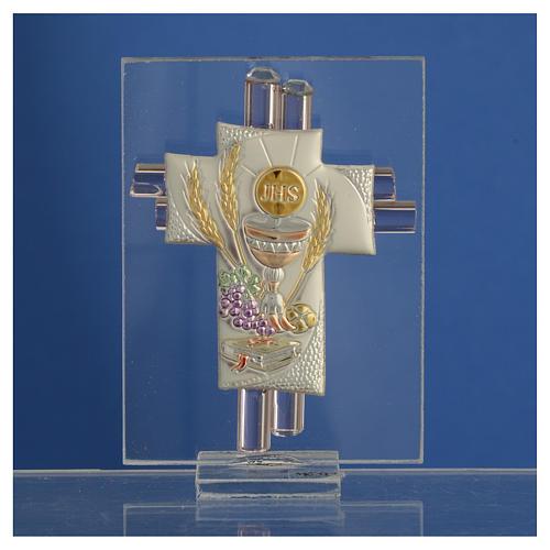 Pamiątka Krzyż Pierwsza Komunia szkło Murano różowe i srebrne 8cm 2