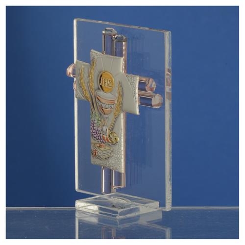 Pamiątka Krzyż Pierwsza Komunia szkło Murano różowe i srebrne 8cm 3