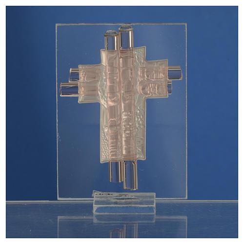 Pamiątka Krzyż Pierwsza Komunia szkło Murano różowe i srebrne 8cm 4