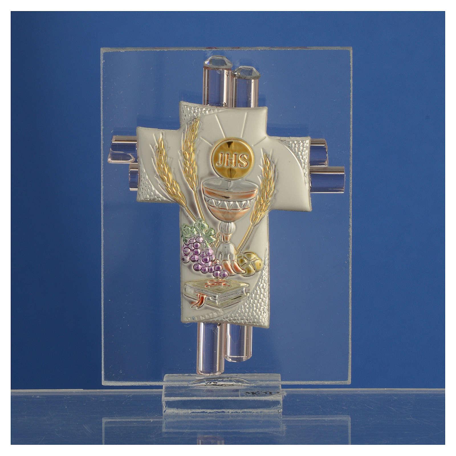 Lembrancinha Comunhão cruz vidro Murano cor-de-rosa prata h 8 cm 3
