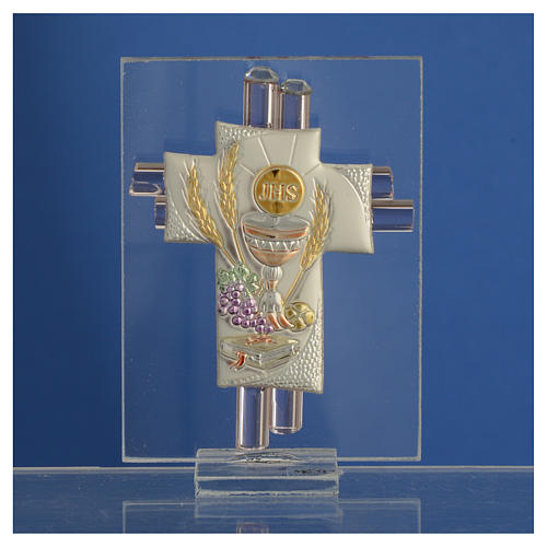 First Communion favour, Christ image in silver and pink glass 8cm 2