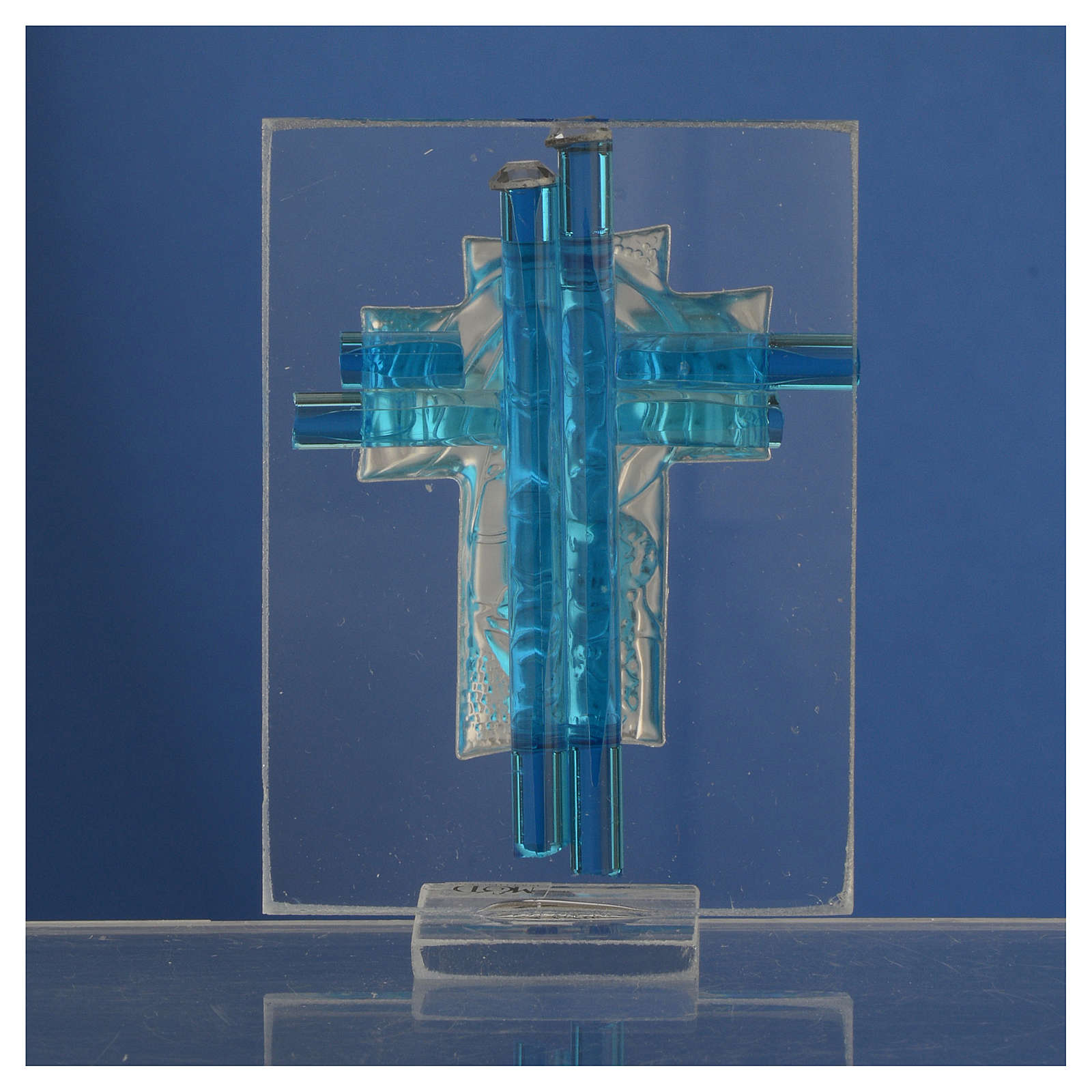New born baby favour cross in aqua Murano glass and silver 8cm 3