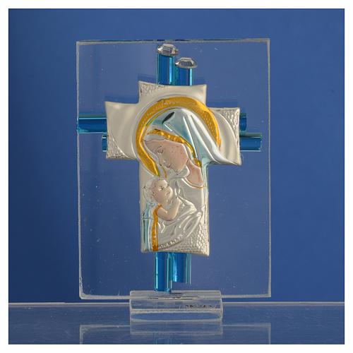 New born baby favour cross in aqua Murano glass and silver 8cm 2