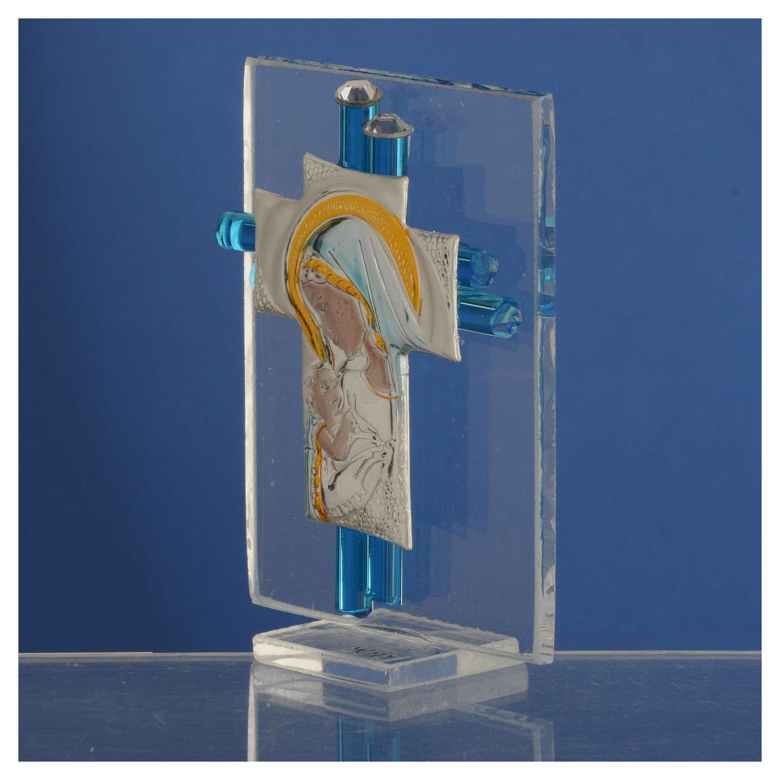 Ricordino Nascita Croce vetro Murano acquamarina e Arg. h. 8 cm 3